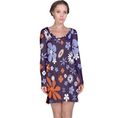 Bright Colorful Busy Large Retro Floral Flowers Pattern Wallpaper Background Long Sleeve Nightdress