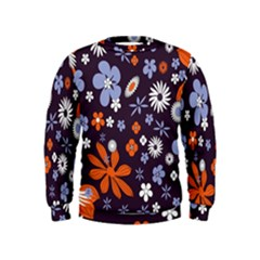 Bright Colorful Busy Large Retro Floral Flowers Pattern Wallpaper Background Kids  Sweatshirt by Nexatart