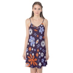 Bright Colorful Busy Large Retro Floral Flowers Pattern Wallpaper Background Camis Nightgown