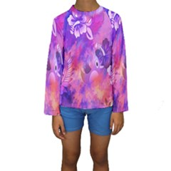 Littie Birdie Abstract Design Artwork Kids  Long Sleeve Swimwear