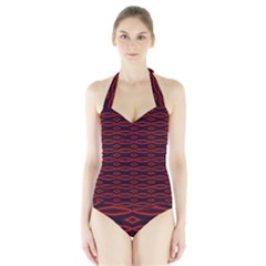 Repeated Tapestry Pattern Abstract Repetition Halter Swimsuit