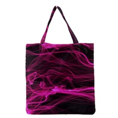 Abstract Pink Smoke On A Black Background Grocery Tote Bag by Nexatart