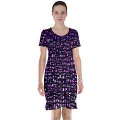 Purple Denim Background Pattern Short Sleeve Nightdress by Nexatart