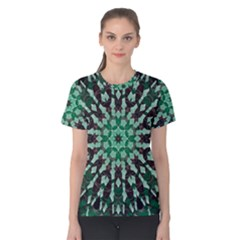 Abstract Green Patterned Wallpaper Background Women s Cotton Tee