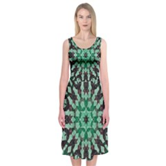 Abstract Green Patterned Wallpaper Background Midi Sleeveless Dress