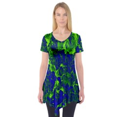 Abstract Green And Blue Background Short Sleeve Tunic  by Nexatart