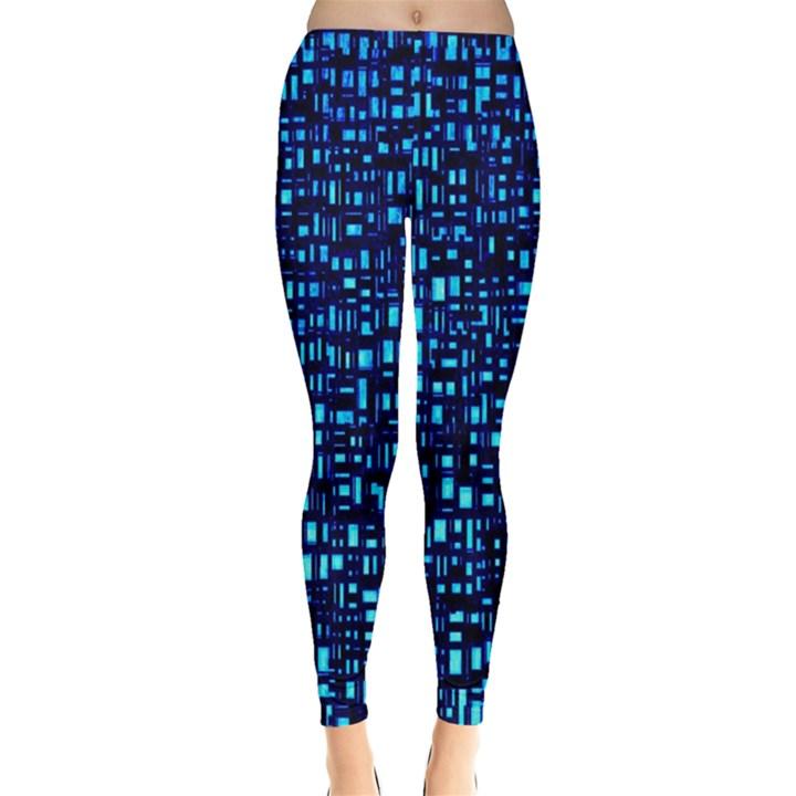 Blue Box Background Pattern Leggings