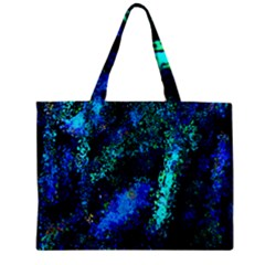 Underwater Abstract Seamless Pattern Of Blues And Elongated Shapes Zipper Mini Tote Bag by Nexatart