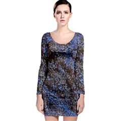 Cracked Mud And Sand Abstract Long Sleeve Bodycon Dress
