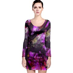 Pink Abstract Tree Long Sleeve Bodycon Dress