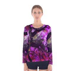 Pink Abstract Tree Women s Long Sleeve Tee