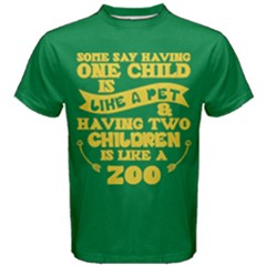 Green & Yellow One Child Pet Two Children Zoo Men s Cotton Tee by ThinkOutisdeTheBox