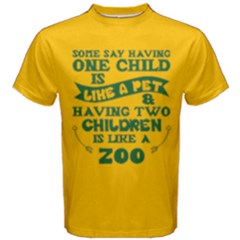 Yellow & Green One Child Pet Two Children Zoo Men s Cotton Tee by ThinkOutisdeTheBox