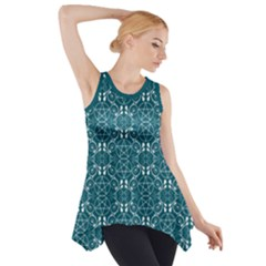 Teal With White Pagan Pentacles Wiccan Side Drop Tank Tunic by cheekywitch