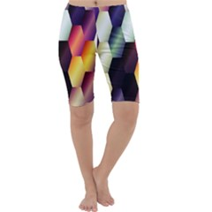 Colorful Hexagon Pattern Cropped Leggings