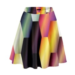 Colorful Hexagon Pattern High Waist Skirt by Nexatart