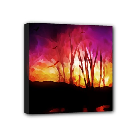 Fall Forest Background Mini Canvas 4  X 4  by Nexatart