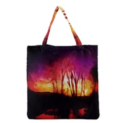 Fall Forest Background Grocery Tote Bag