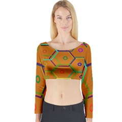 Color Bee Hive Color Bee Hive Pattern Long Sleeve Crop Top