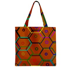 Color Bee Hive Color Bee Hive Pattern Zipper Grocery Tote Bag