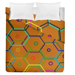 Color Bee Hive Color Bee Hive Pattern Duvet Cover Double Side (queen Size) by Nexatart