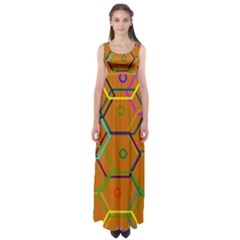 Color Bee Hive Color Bee Hive Pattern Empire Waist Maxi Dress by Nexatart