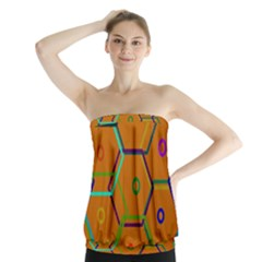 Color Bee Hive Color Bee Hive Pattern Strapless Top by Nexatart