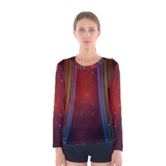Bright Background With Stars And Air Curtains Women s Long Sleeve Tee