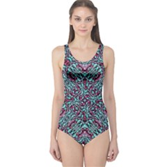 Stylized Texture Luxury Ornate One Piece Swimsuit by dflcprintsclothing