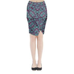 Stylized Texture Luxury Ornate Midi Wrap Pencil Skirt by dflcprintsclothing