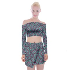 Stylized Texture Luxury Ornate Off Shoulder Top With Skirt Set by dflcprintsclothing