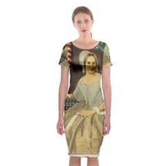 Betsy Ross Author Of The First American Flag And Seal Patriotic Usa Vintage Portrait Classic Short Sleeve Midi Dress