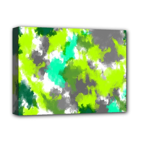 Abstract Watercolor Background Wallpaper Of Watercolor Splashes Green Hues Deluxe Canvas 16  X 12   by Nexatart