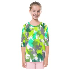Abstract Watercolor Background Wallpaper Of Watercolor Splashes Green Hues Kids  Quarter Sleeve Raglan Tee
