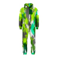 Abstract Watercolor Background Wallpaper Of Watercolor Splashes Green Hues Hooded Jumpsuit (kids)