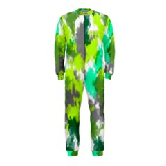 Abstract Watercolor Background Wallpaper Of Watercolor Splashes Green Hues Onepiece Jumpsuit (kids) by Nexatart