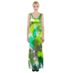 Abstract Watercolor Background Wallpaper Of Watercolor Splashes Green Hues Maxi Thigh Split Dress
