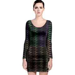 Multicolor Pattern Digital Computer Graphic Long Sleeve Bodycon Dress by Nexatart