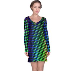 Digitally Created Halftone Dots Abstract Background Design Long Sleeve Nightdress