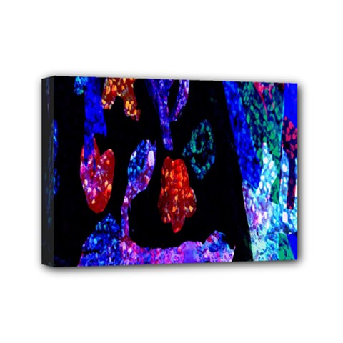 Grunge Abstract In Black Grunge Effect Layered Images Of Texture And Pattern In Pink Black Blue Red Mini Canvas 7  X 5
