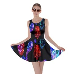 Grunge Abstract In Black Grunge Effect Layered Images Of Texture And Pattern In Pink Black Blue Red Skater Dress by Nexatart