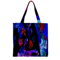 Grunge Abstract In Black Grunge Effect Layered Images Of Texture And Pattern In Pink Black Blue Red Zipper Grocery Tote Bag