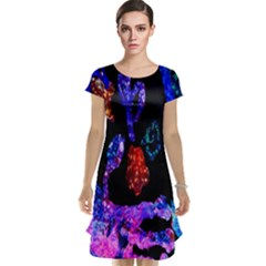 Grunge Abstract In Black Grunge Effect Layered Images Of Texture And Pattern In Pink Black Blue Red Cap Sleeve Nightdress by Nexatart
