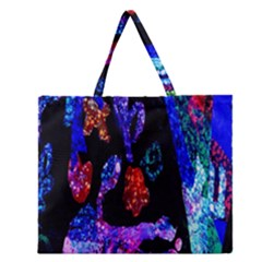 Grunge Abstract In Black Grunge Effect Layered Images Of Texture And Pattern In Pink Black Blue Red Zipper Large Tote Bag by Nexatart
