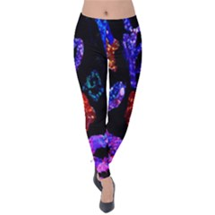 Grunge Abstract In Black Grunge Effect Layered Images Of Texture And Pattern In Pink Black Blue Red Velvet Leggings
