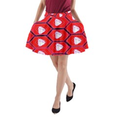Red Bee Hive Background A Line Pocket Skirt by Nexatart