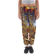 Abstract In Orange Sealife Background Abstract Of Ocean Beach Seaweed And Sand With A White Feather Women s Jogger Sweatpants by Nexatart