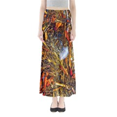 Abstract In Orange Sealife Background Abstract Of Ocean Beach Seaweed And Sand With A White Feather Maxi Skirts