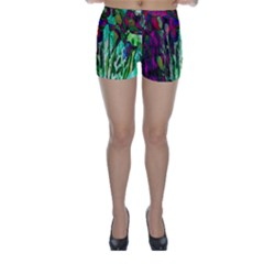 Bright Tropical Background Abstract Background That Has The Shape And Colors Of The Tropics Skinny Shorts