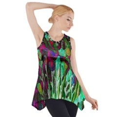Bright Tropical Background Abstract Background That Has The Shape And Colors Of The Tropics Side Drop Tank Tunic